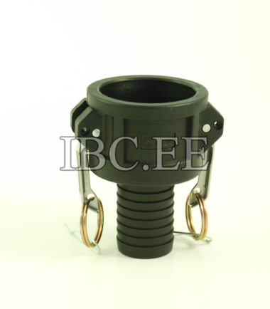 "2"" Camlock coupler type C x 1 1/2"" (57mm) hose tail Arms, pin, ring Stainless Steel PP"